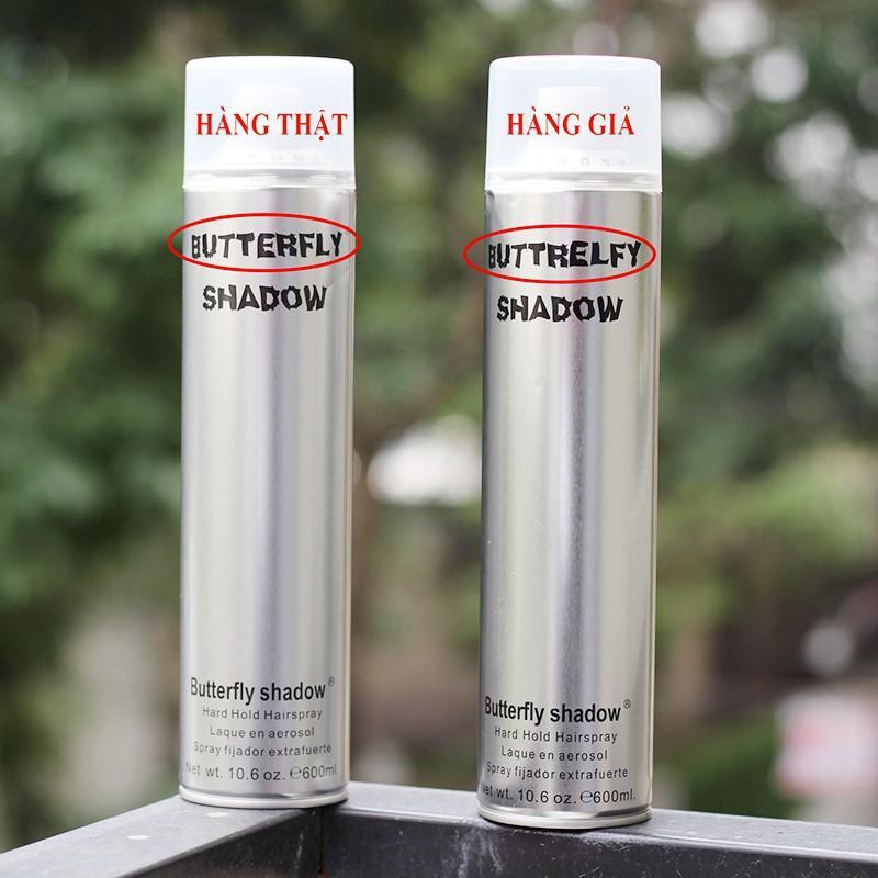 gôm xịt tóc Butterfly Shadow thật và giả