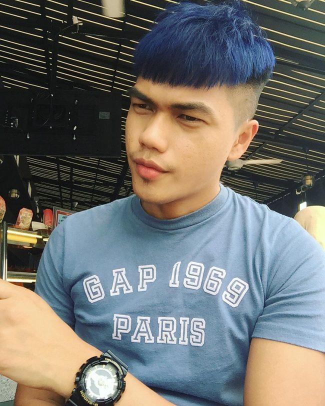 Tóc Đầu Nấm Undercut nhuộm xanh đen